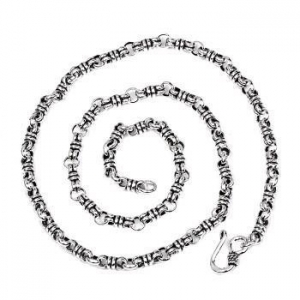 China 925 Sterling Silver Double Ring Knot Rope Link Vintage Chain Necklace For Men - 5mm Wide on sale