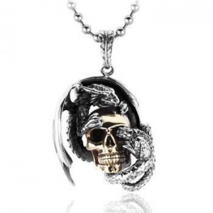 China Dragon & Skull Silver Pendant For Men on sale