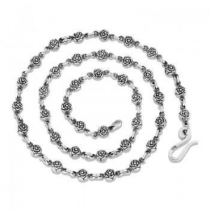 China Unique High Quality 925 Sterling Silver Roses Link Chain Necklace Jewelry Gift For Men on sale
