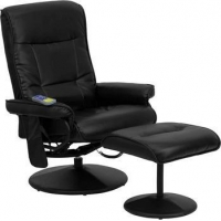 China Massaging Black Leather Recliner and Ottoman with Leather Wrapped Base [BT-7320-MASS-BK-GG] on sale