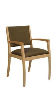 China Meridian Arm Chair: Wood Back, Upholstered Seat on sale