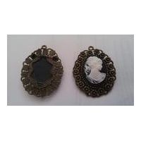 Cameo white on black background vintage golden fram antique look brooch pin pendant