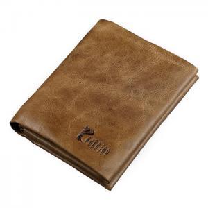 China Men Vintage Short Wallet Genuine Leather Bifold Wallet Card Holder Men Fashion on sale