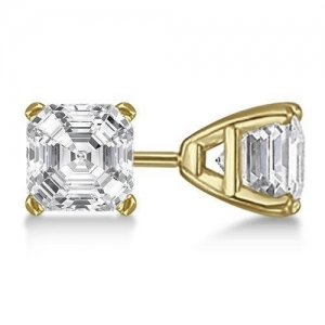 China 0.50ct. Asscher-Cut Diamond Stud Earrings 14kt Yellow Gold (G-H, VS2-SI1) on sale