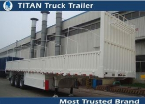 China Heavy duty semi trailer , 80 tons flatbed car trailer with dropping side wall on sale