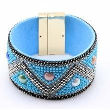 China Magnetic Buckle Bracelets Boho Wide Leather Bracelet For Women on sale