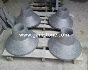China black basalt granite carved lamp cap on sale