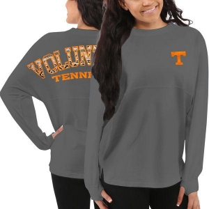 China Women's Pressbox Tennessee Volunteers Gray Aztec Sweeper Long Sleeve Oversized Top on sale