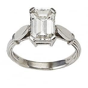 China Emerald Diamond Three Stone Engagement Ring on sale