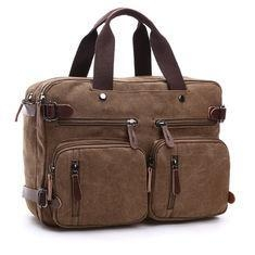 China Dual Use Canvas Office Laptop Bags , 15 Inch Laptop Messenger Bags School Use Durable on sale