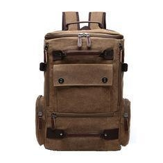 China Light Weight Canvas College Student Backpack With Side Pockets 30 - 40L on sale