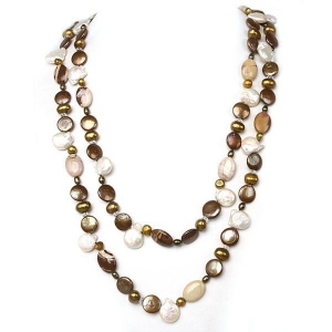 China IPEARL 64 Freshwater Pearl Necklace with Coin Brown Pearl, White Crystal & Mexican Agate on sale