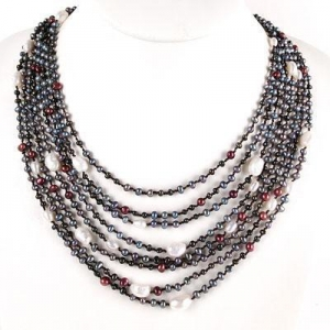 China 24 Multi-Strand Freshwater Pearl Necklace by IPEARL with 4-5mm Multicolor Rice Pearls; Silver Clasp on sale