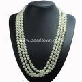 China Long Multi Strand Pearl Necklace Costume Jewelry on sale