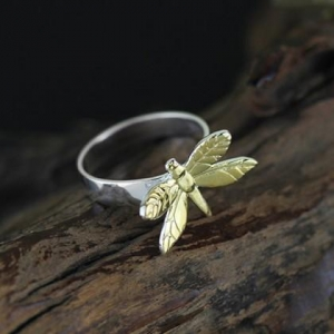 China 925 sterling silver, jewelry Fashion color, Dragonfly gold-plated ring , open ring on sale
