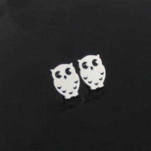 China 925 Sterling Silver Post Alloy Silver Plated Animal Owl Studs Earrings on sale