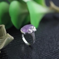 China 925 sterling silver set amethyst dragonfly ring , open ring on sale