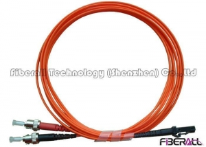 China Dual Core MTRJ To ST Fiber Optic Jumper Cables With Multimode Orange Optical Cable on sale