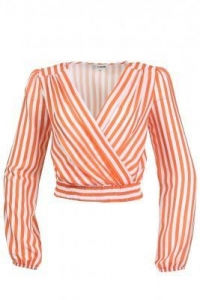 China LOVE Wrap Over Top In Orange Stripe on sale