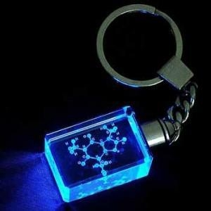 China LED Light Crystal Keychain with Etched Logo on sale