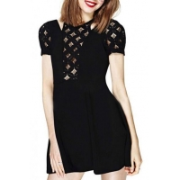 China Diamond Lace Cutout Top Short Sleeve Black Babydoll Dress on sale . 06e461f80