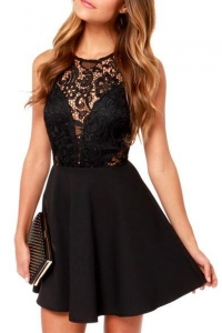 China Black Lace Hollow Sleeveless Top Fit&Flare Dress on sale