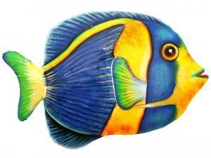 China Wall Decor MDE1020 - Scribbled Angel Fish Hand Painted Metal on sale
