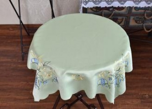 China Chemical Fiber Light Green Table Cloth , Embroidered Square Table Cloths on sale