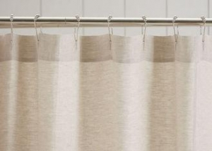 China Customized Pure Linen Ruffle Shower Curtain HandMade White / Gray / Flax on sale