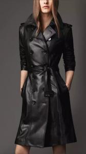 China Jacket W24044 women leather coat on sale