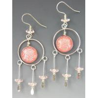 3 Escargots Jewelry - Dangle Earrings, Pink Dichroic Glass