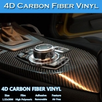 Free Shipping Air Bubble Free Glossy Colored 4D Carbon Fiber Vinyl Sticker