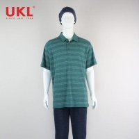 Classic Half Sleeve Dotted Line Men Polo Shirt In Green