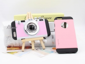 China Protect 3D Creative Camera Shaped Mirror Holder Phone Case Cover PC TPU 2 in 1 Case on sale