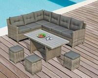 China Minnesota Corner lounge set (1 left corner sofa + 1 right armchair 3 seaters+ 1 table + 3 footrest) on sale
