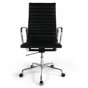 China Economical eames reproduction high back black leather office chair on sale
