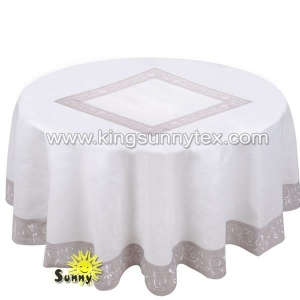 China Table Cloths Custom Table Cloth Trade Show With Hem-Stitching And Embrodiery on sale