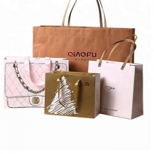 China custom fashion luxury recycled eco friendly reusable foldable printed paper shopping bag with logos on sale