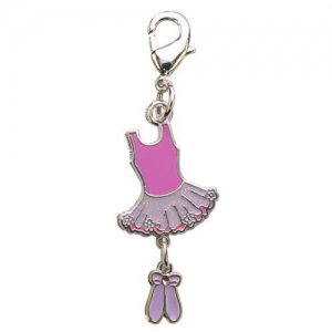 China Button Badge Pink Enameled Ballet Dress Charm on sale