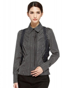 China TY-CL Twin set black and white striped long sleeve shirt on sale