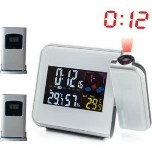 China Projection Alarm Clock with Digital Laser Time Projector IN/Outdoor Temperature Thermometer on sale