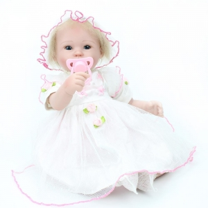 China 44cm Reborn Baby Doll With Skirt Lifelike Silicone Adorable Princess Doll For Girls Play House Toys supplier