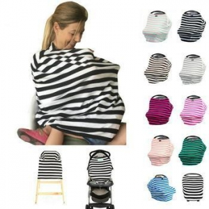 China Multi use stripe breastfeeding cover baby car seat cover nursing scarf on sale