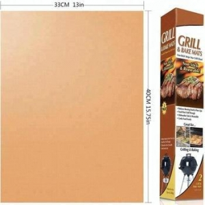 China Factory price As seen on TV 13*15.75 inches nonstick heavy duty Copper Grill BBQ mat on sale