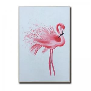 China simple pink flamingo canvas art painting with white frame for wholesale on sale