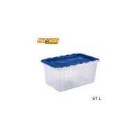 57L High Quality Clear Resistance Plastic Storage Bin Container Crate with Hinged Lid Supplier