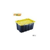80L Large Stackable Plastic Bins Tools Storage Box With Lid Supplier