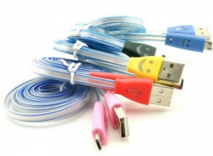 China Smile Face 1M Retractable Colorful LED Micro USB cable led light usb charging cable on sale