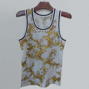 China Men's all over print white tank top on sale