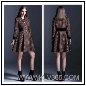 China High Quality Clothes Designer Women Winter Wool Knee Length Coat Style Dress on sale
